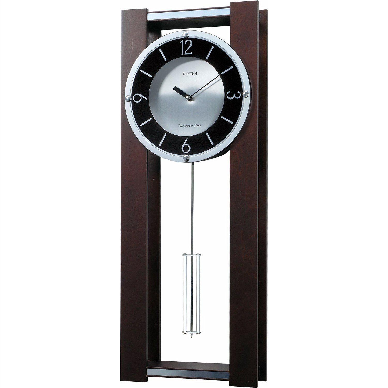 Modern Pendulum Wall Clock In Rich Espresso Plays 18 Melodies Relojes De Pared Reloj De Pendulo Estilos De Decoracion De Interiores