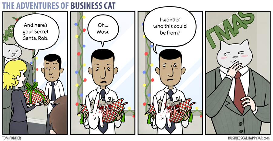 Secret Santa Business cat, Funny comics, Cute cat memes