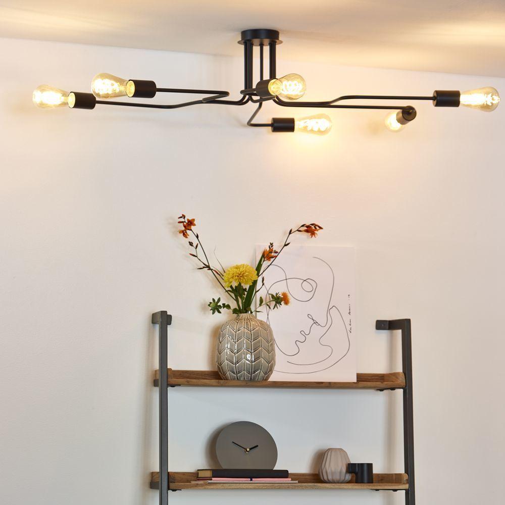 Deckenleuchte Lester In Schwarz E27 6 Flammig Lucide 21112 06 30 Interior Leuchten Lampen Wohnzimmer In 2020 Semi Flush Ceiling Lights Ceiling Lights Light