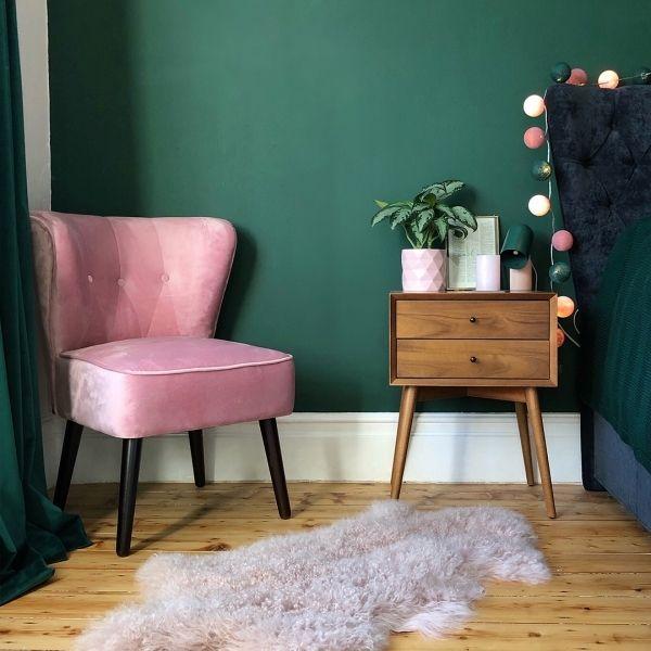 Photo of Penelope Accent Chair, Velvet Upholstered, Dark Pink