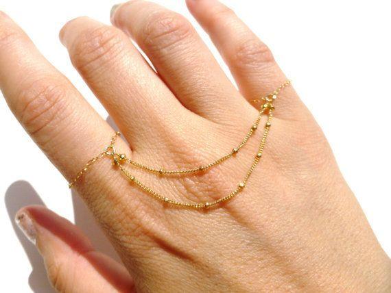 Knuckle Rings 14kt Gold Filled Chain Slave Bracelet 14kt Gold