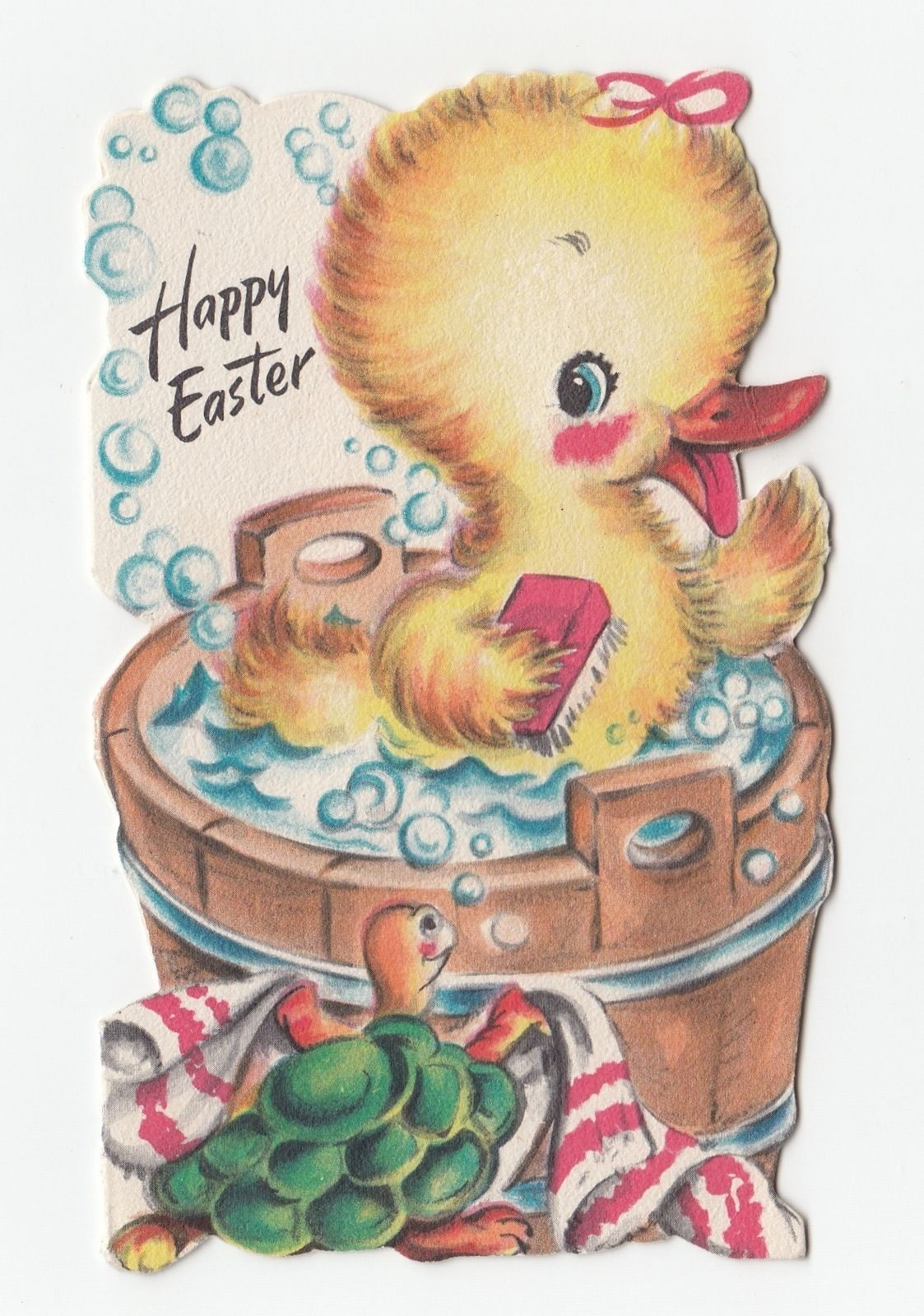 Vintage greeting card easter die cut 1940s duck turtle bath tub vintage greeting card easter die cut 1940s duck turtle bath tub hallmark a516 ebay kristyandbryce Image collections