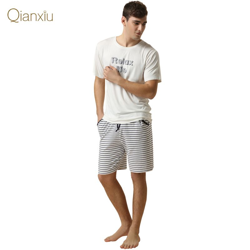 Qianxiu Brand Pajama Men's Cotton Pajamas Suit Summer Lounge Wear ...