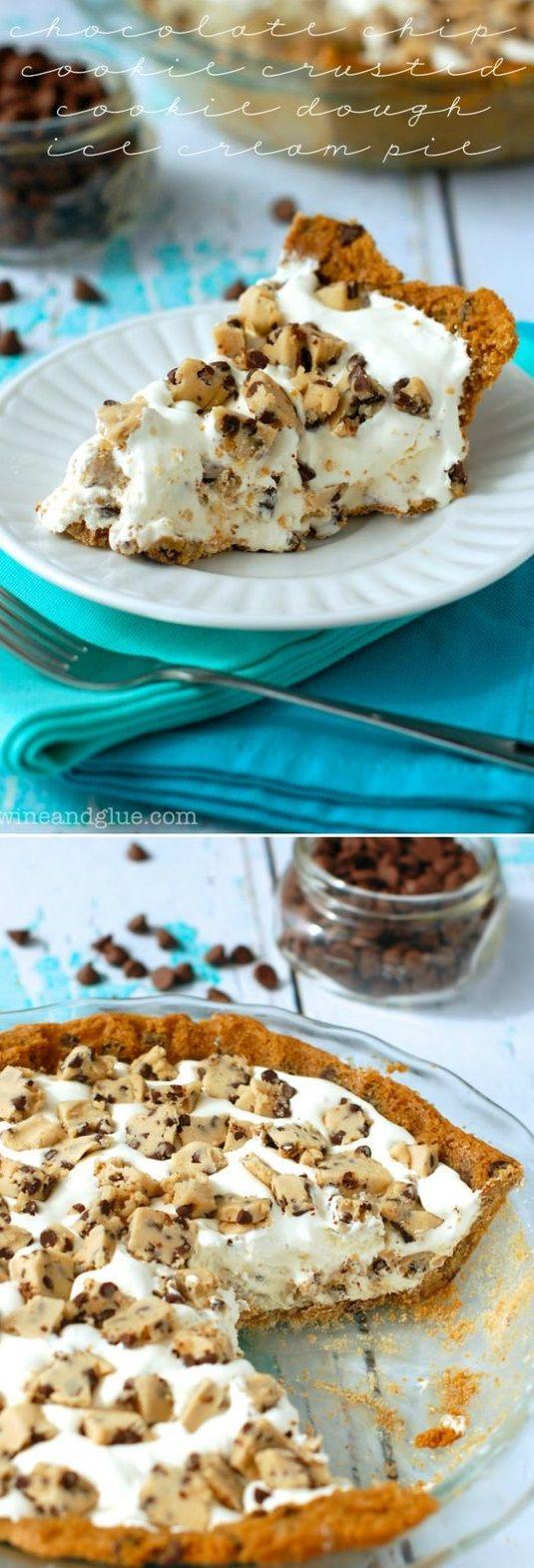 Chocolate Chip Cookie Crusted Cookie Dough Ice Cream Pie #icecreammachinerecipes