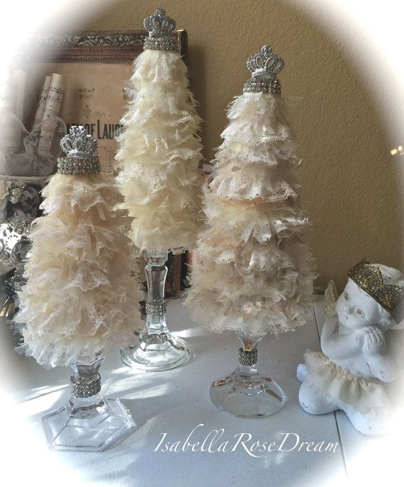 Christmas tree shabby chic tree christmas by isabellarosedream christmas creations pinterest - Navidad shabby chic ...