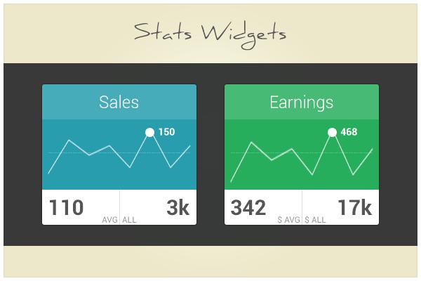 33 Stats Widgets (freebie by pixelcave)