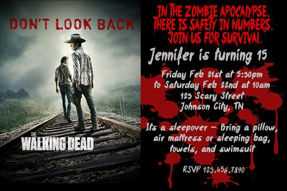 Walking dead birthday invitation party by prettyfuninvitations walking dead birthday invitation party by prettyfuninvitations filmwisefo