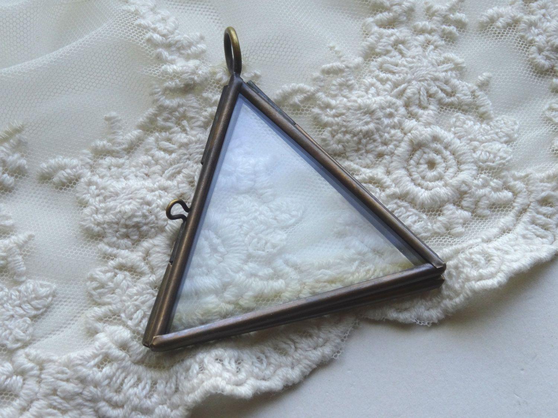 1 Glass Triangle Locket Bronze Flat Glass Two Pane Shadow Box