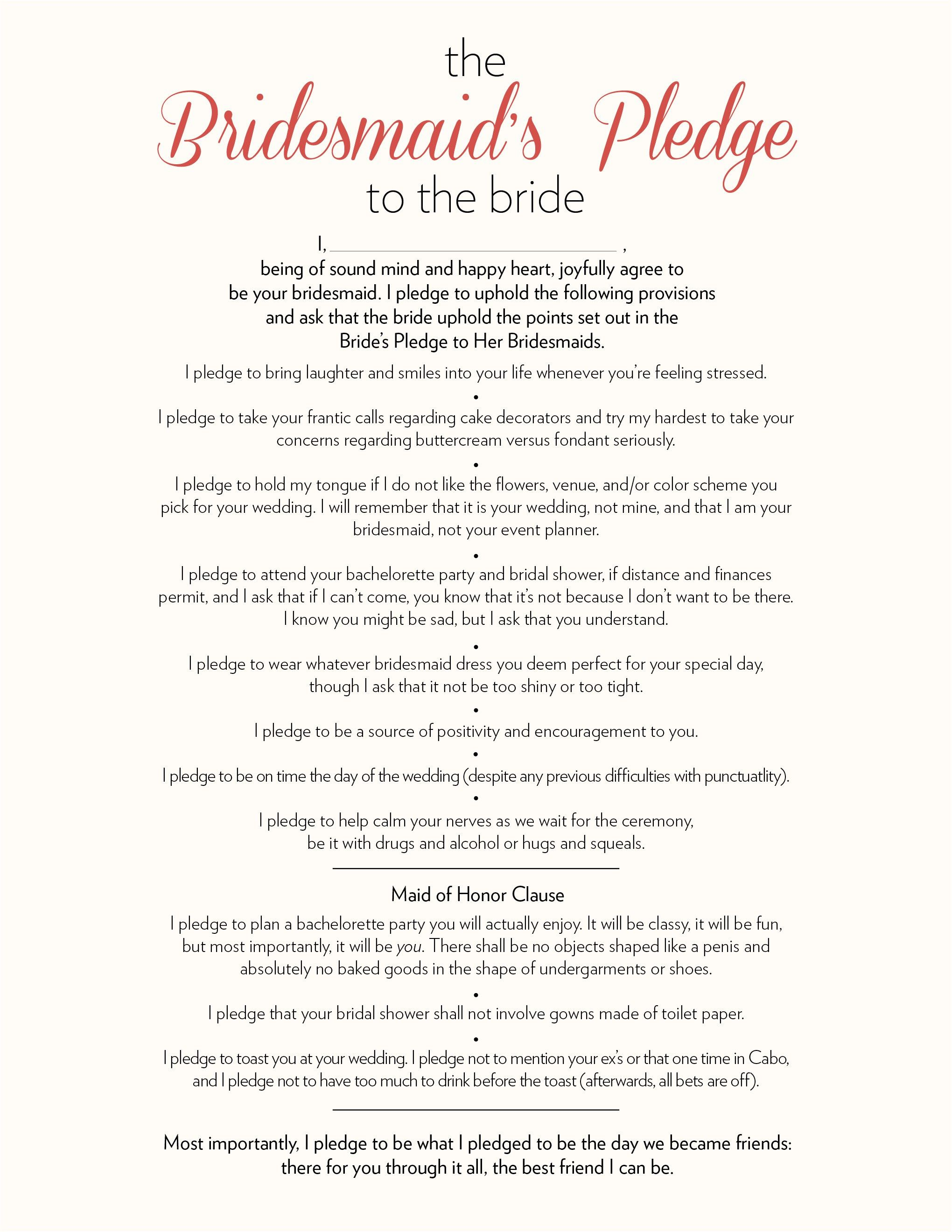 bridesmaids pledge to the bride more wedding speeches bridesmaid