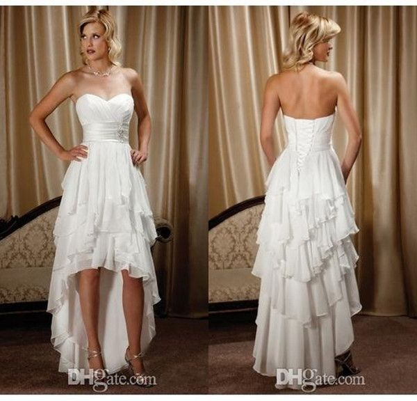 Country Western A Line Cheap Chiffon Bridal Gowns Beaded: New Arrival Short Front Long Back Sweetheart Chiffon High