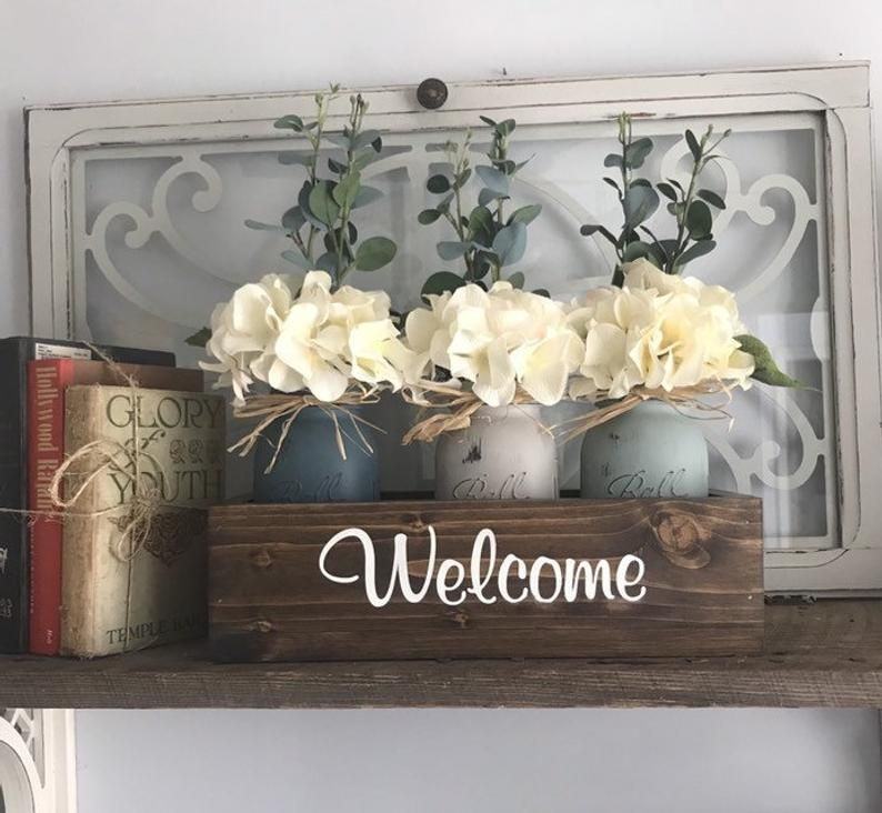 Dining Table Centerpiece Rustic Home Decor Floral Centerpiece Mason Jar Decor Floral Arrangement Bedroom Decor In 2020 Dining Table Centerpiece Table Centerpieces Rustic House