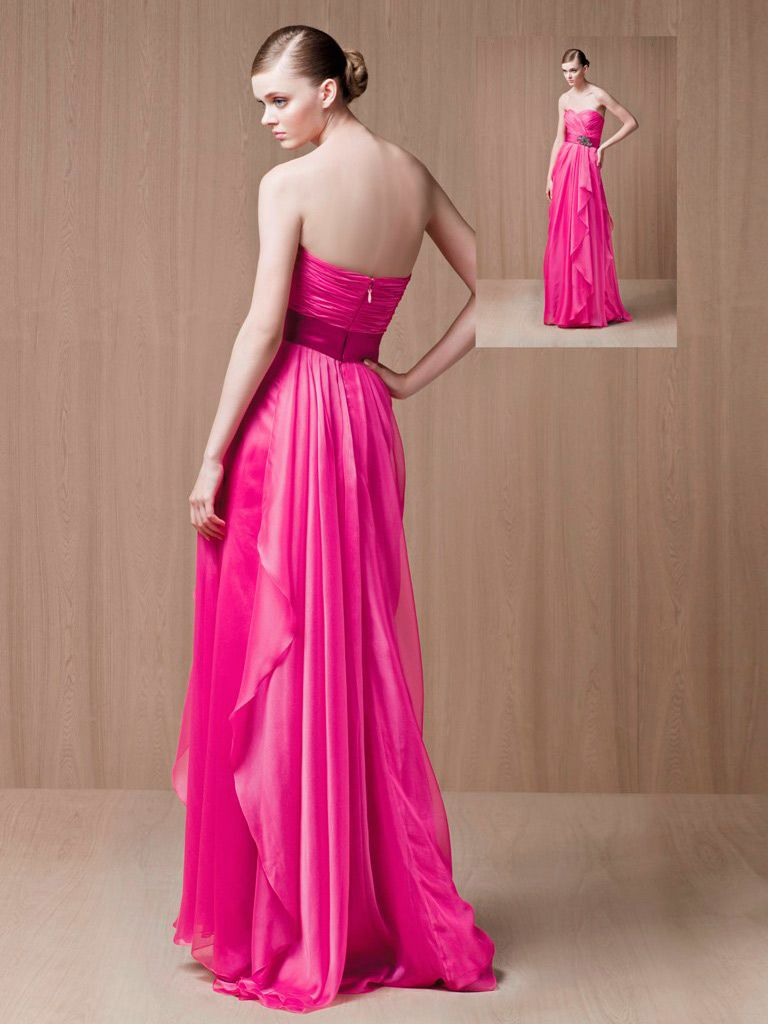 Hot pink sweetheart floor length long evening prom dress my
