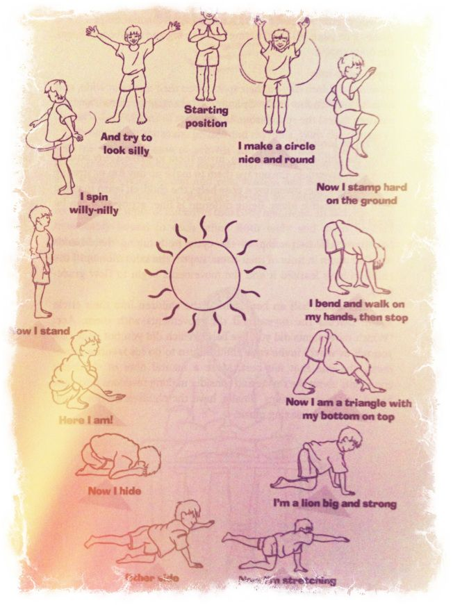 A Sun Salutation for Children-good warm up stretches to