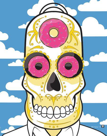 Homer simpson sugar skull print 11x14 print doh