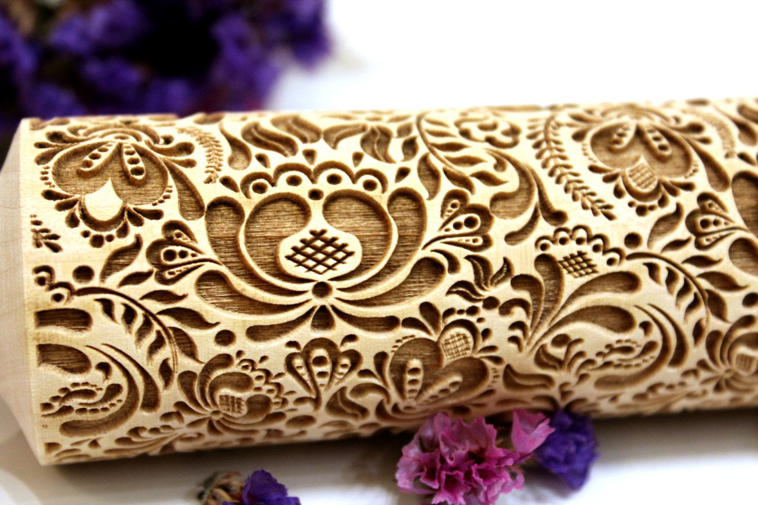 Christmas Embossing Rolling Pin For Baking Cookies Dough Roller Flower Pattern