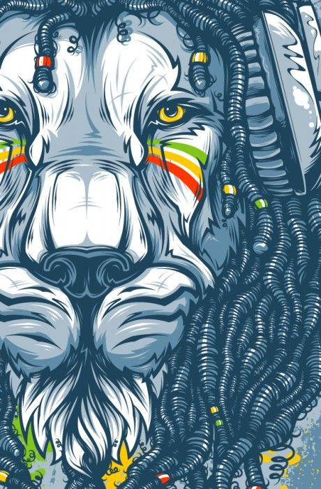 A spectacularly beautiful #animal illustration by Ukranian digital artist Andrey Krasnov, called Jah
