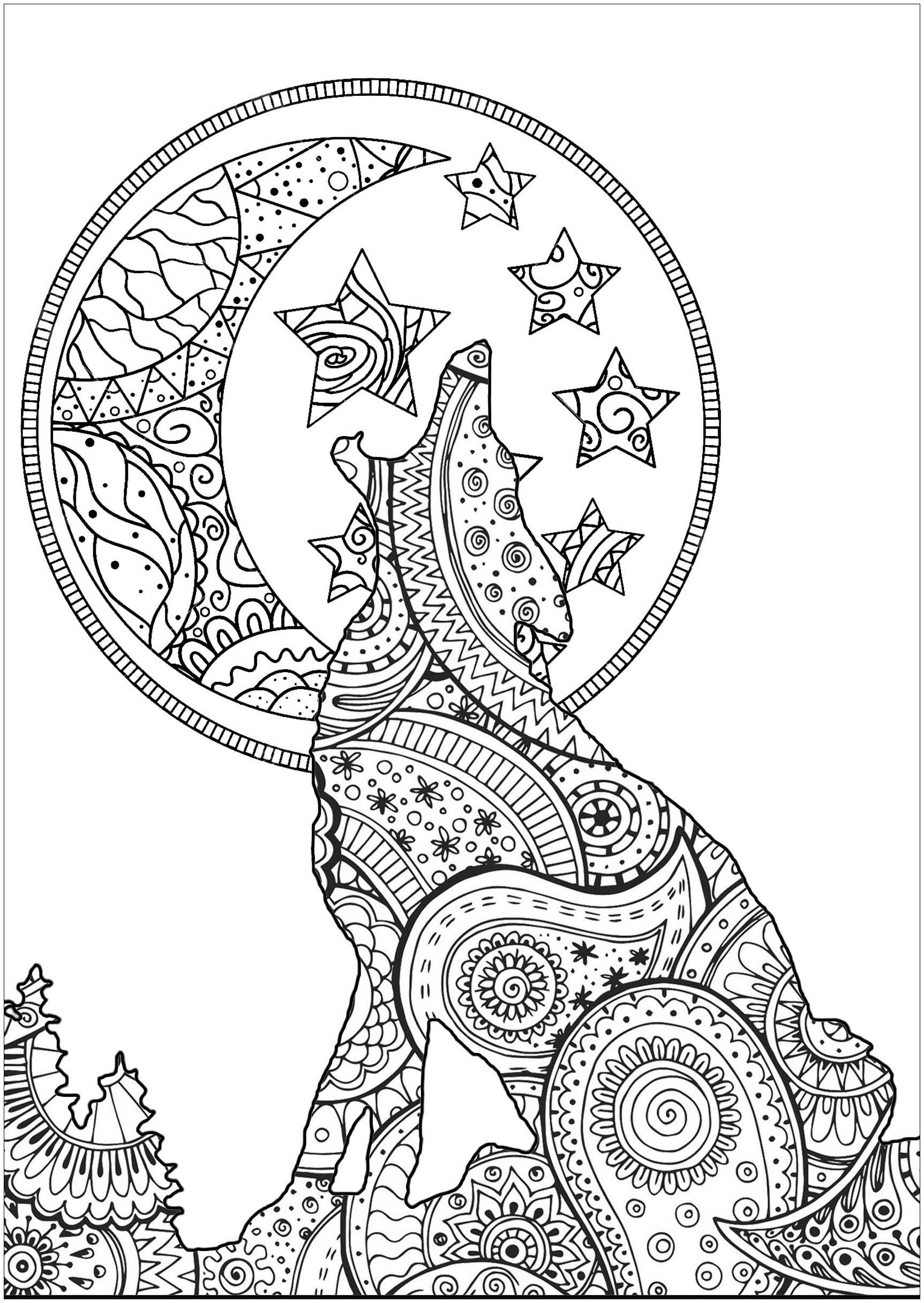 Christmas Coloring Pages Wolf - Lautigamu