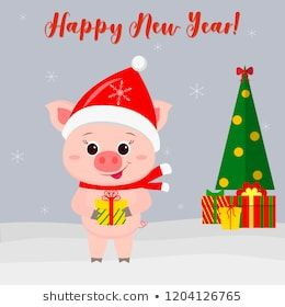 Happy New Year and Merry Christmas Greeting Card. Cute ...