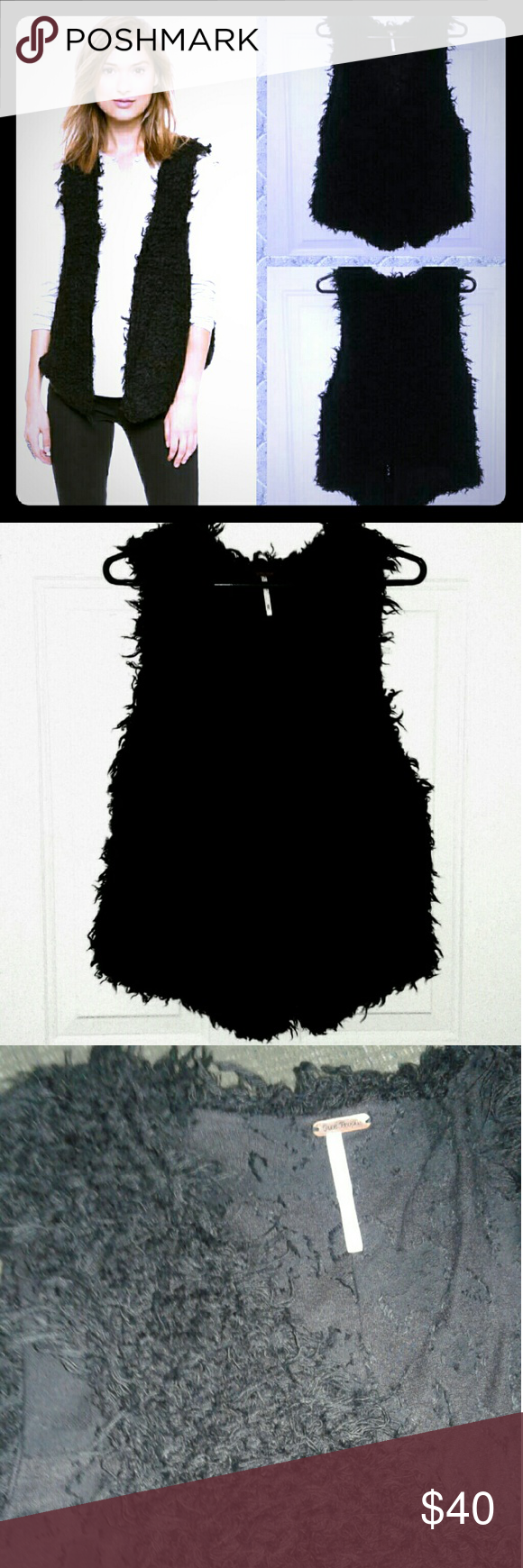 Free People Fur Away Black Vest Like new, knit shaggy texture,  stretchy, hook & eye closure, lined. Free People Jackets & Coats Vests