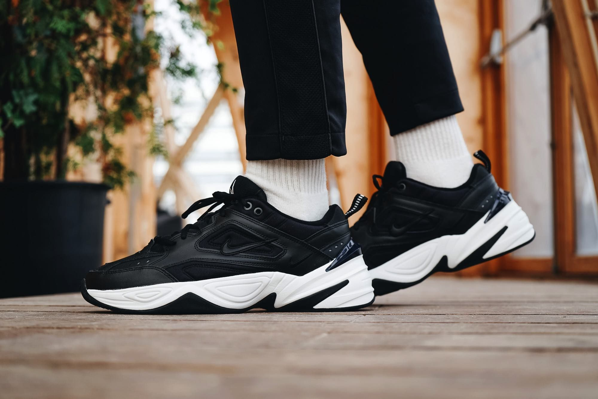 sports shoes b39ba a47d0 Nike M2K Tekno Black White On Feet