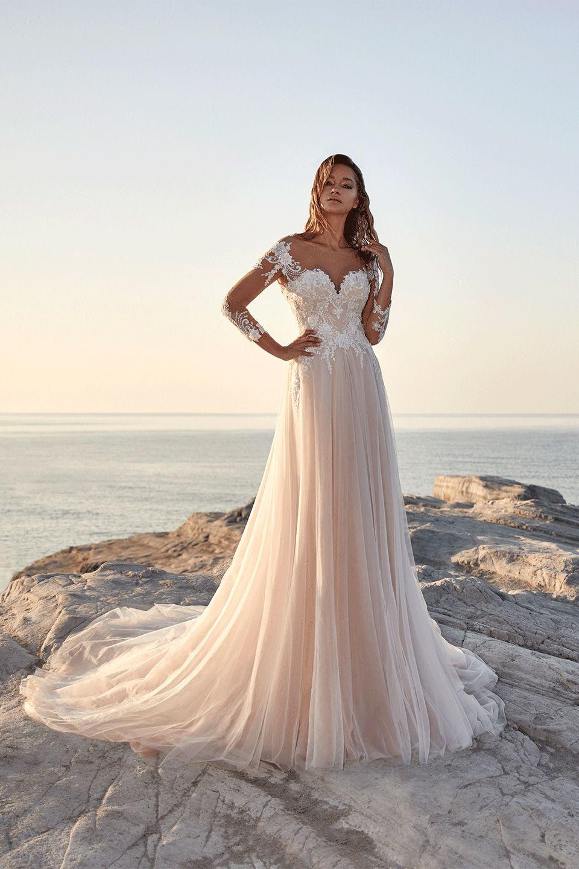 The beautiful mocca and ivory shining dress Talence has illusion