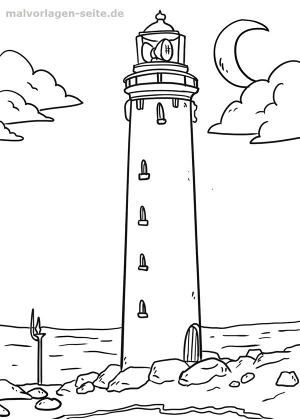 Malvorlage Leuchtturm | Ausmalbilder für kinder, Leuchtturm und Ausmalen