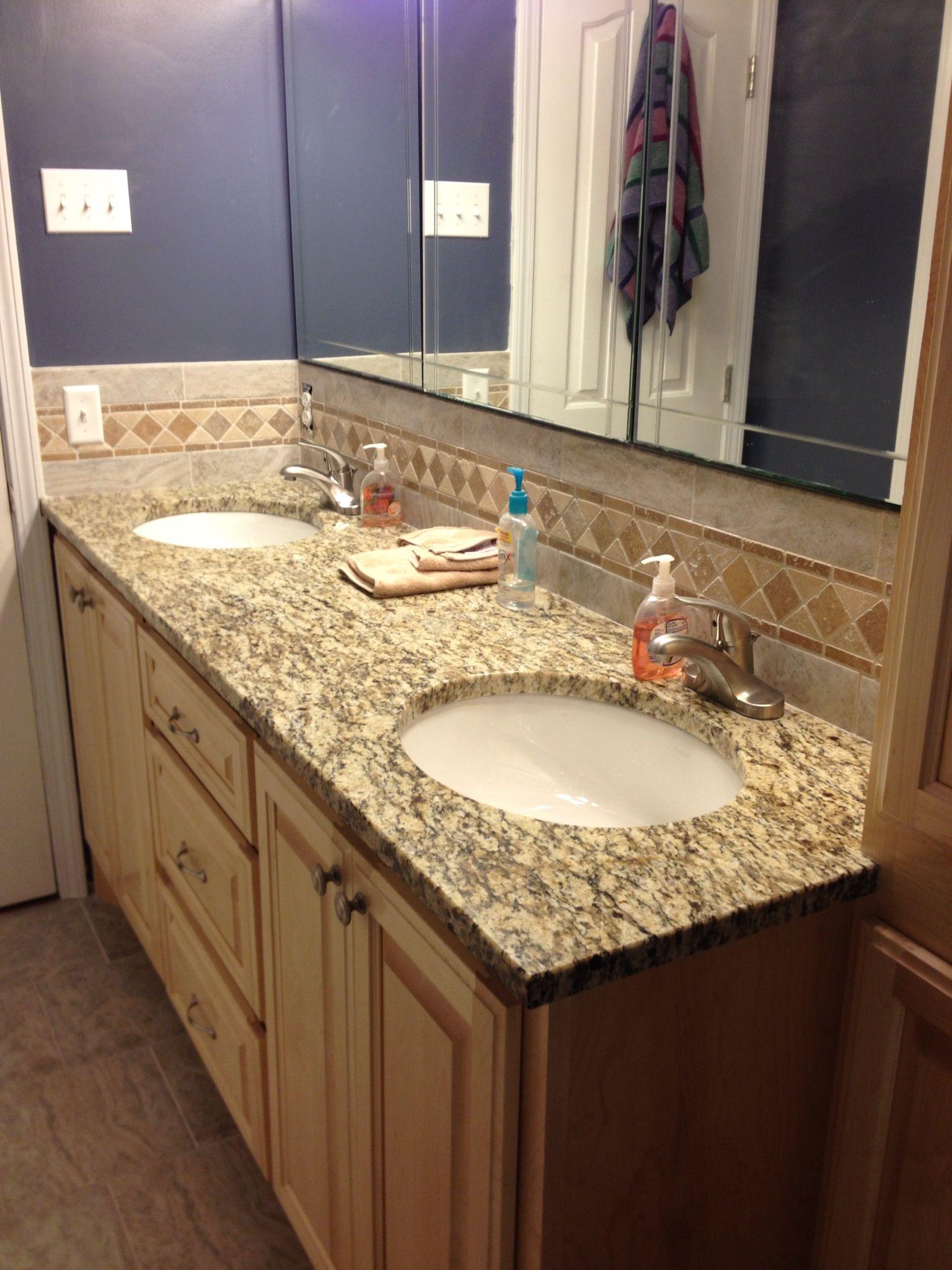 Pic Of Granite Top Tile u Stone Backsplash Stone BacksplashBathroom Vanity