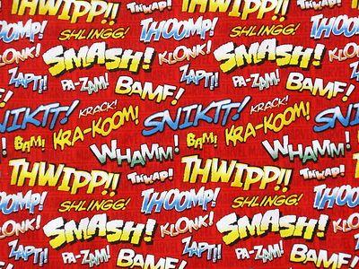 Marvel Comic Retro Superhero Fabric Wow Super Hero Action Words Quilting Bty Superhero Fabric Marvel Comic Books Superhero Comic