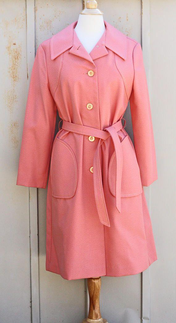 Vintage Pink Coat - Jackie Kennedy Coat - Jackie O Trench Coat ...