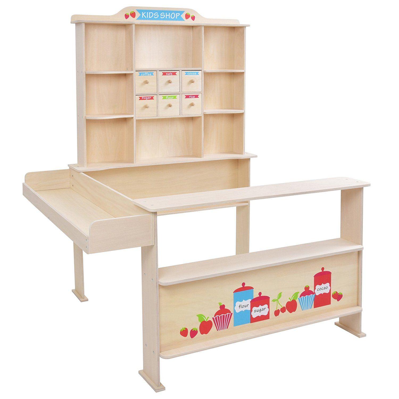 Infantastic - Puesto de mercado para niños de madera - aprox. 99/119 ...