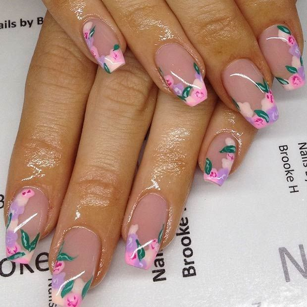 Floral Manicures For Spring And: French Floral Tips Nail Design