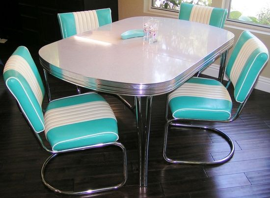 Chrome and formica dining sets modern chrome dinette set for Retro kitchen table and chairs
