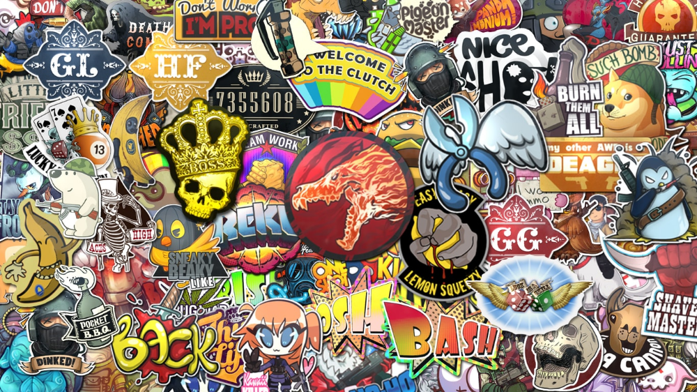 Cs Go Sticker Wallpaper 1366x768 Sticker Bomb Wallpaper Sticker Bomb Go Wallpaper