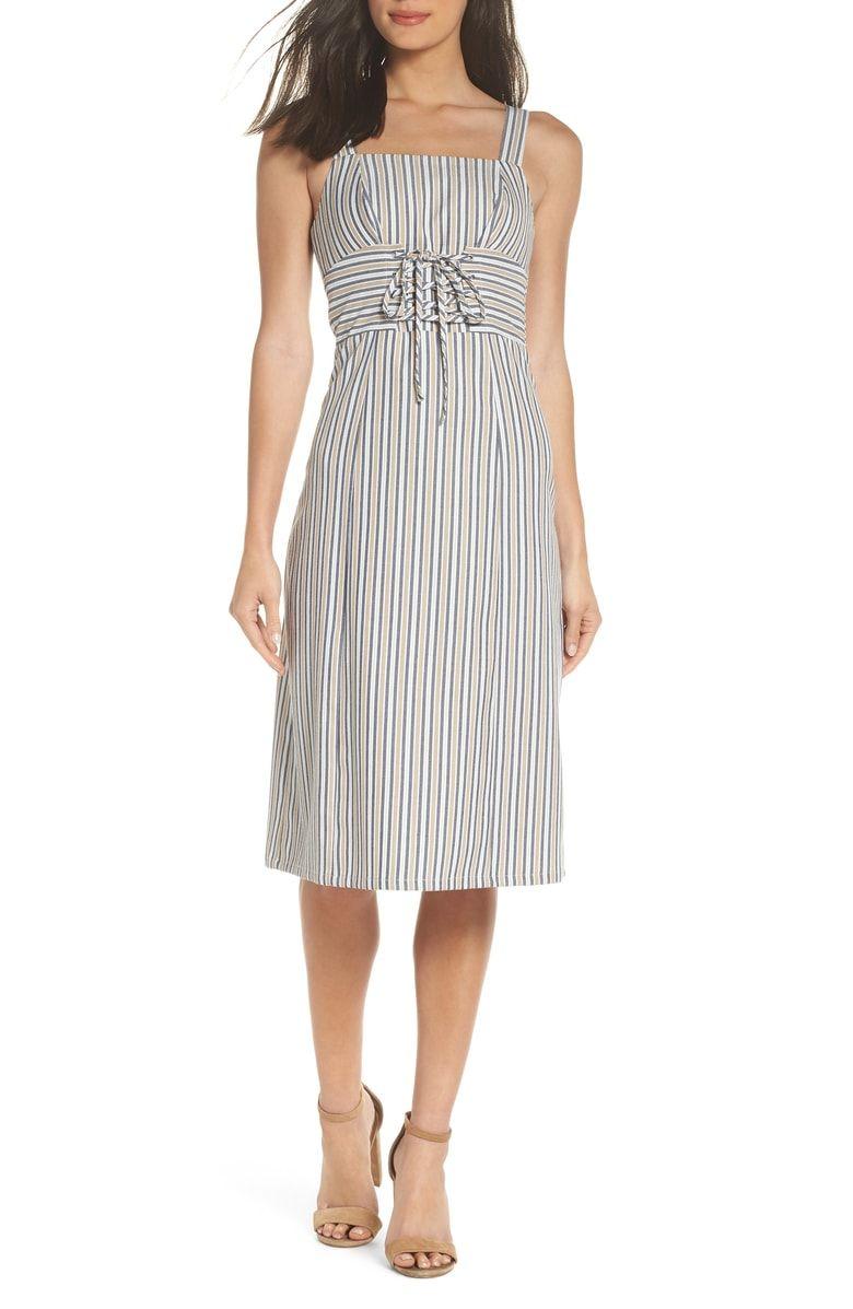 Iconic Stripe Midi Dress Main Color Ecru Navy Stripe Striped Midi Dress Midi Dress Style Midi Dress [ 1197 x 780 Pixel ]