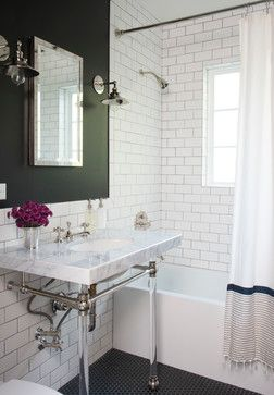 Color Of The Month Decorating With Hunter Green Qb Blog Traditional Bathroom Green Tile Bathroom Green Bathroom