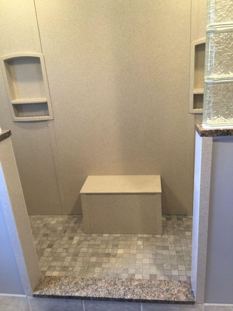 Niches in bathroom walls - Swanstone Walls Shower Niches Bench Seat Glass Block Half Walls Porcelain