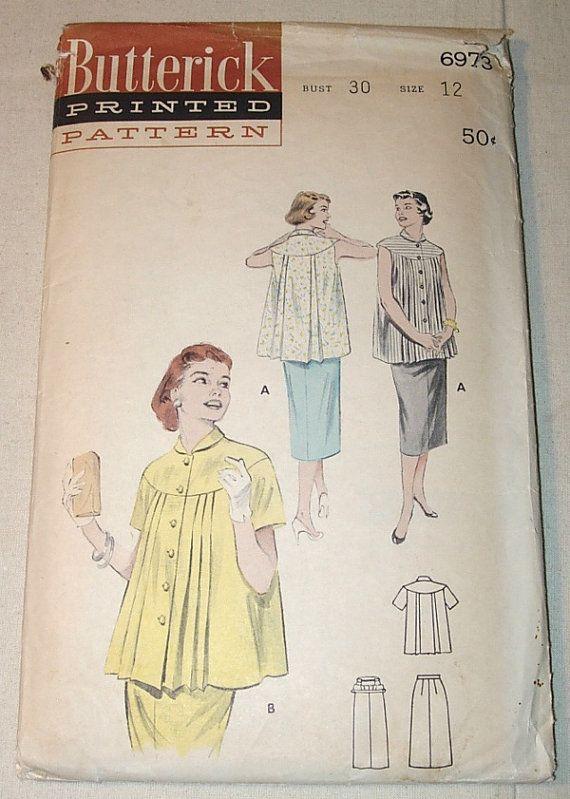 Vintage 1950s Butterick Pleated Maternity Smock Blouse Adjustable ...