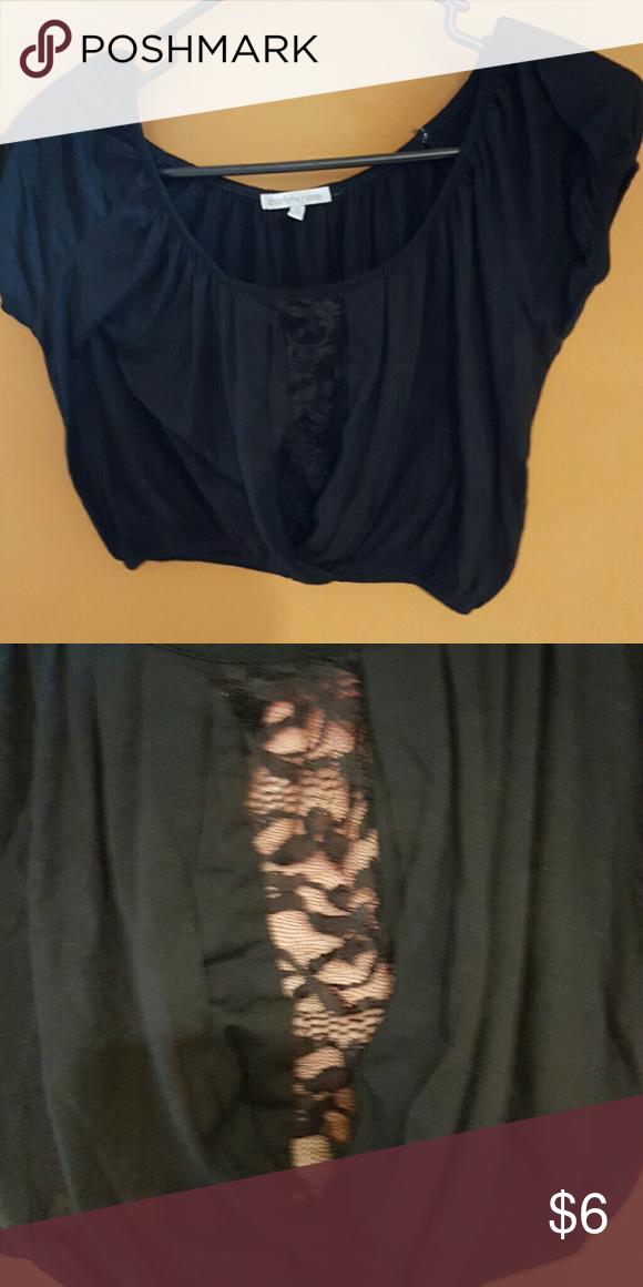 Charlotte Russe crop top Black crop top. Lace detail. Charlotte Russe Tops Crop Tops
