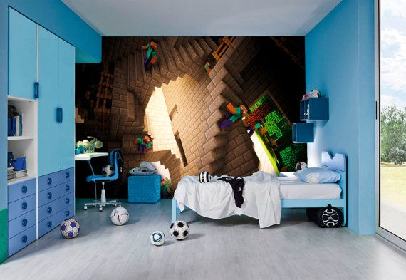 minecraft wall murals by inkyourwall on etsy pour jojo pinterest. Black Bedroom Furniture Sets. Home Design Ideas