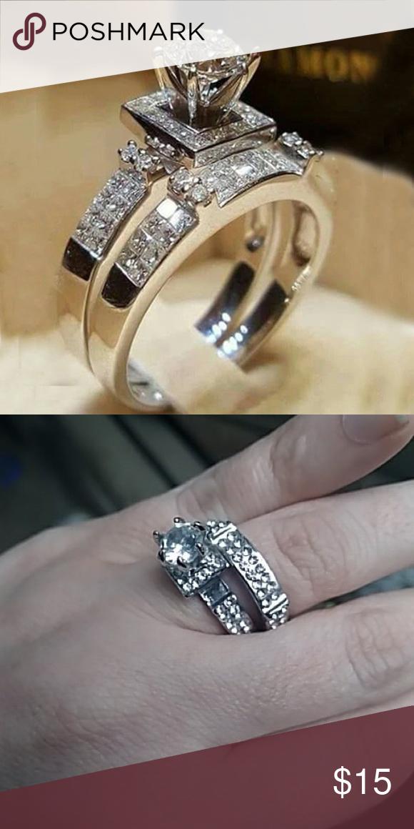 Crystal White Fashion Ring Set Silver Vintage Boho Female Crystal