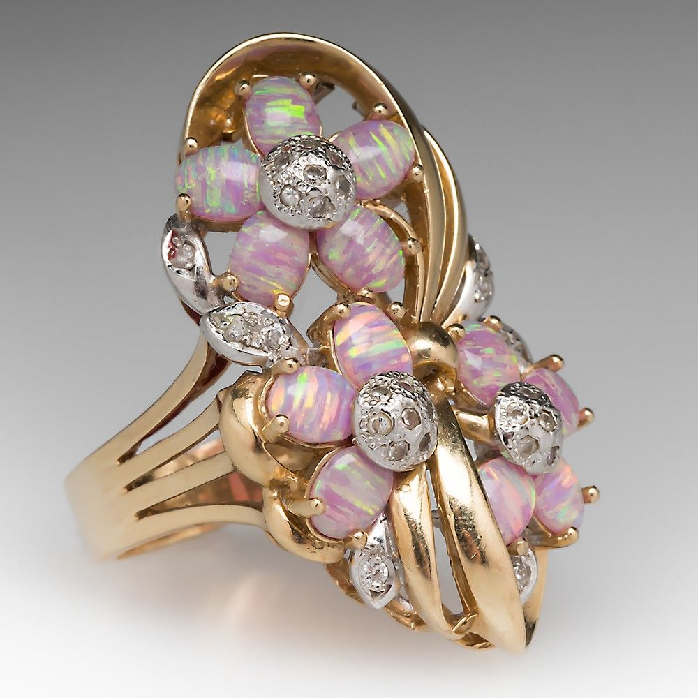 14k created opal diamond flower cocktail ring opal