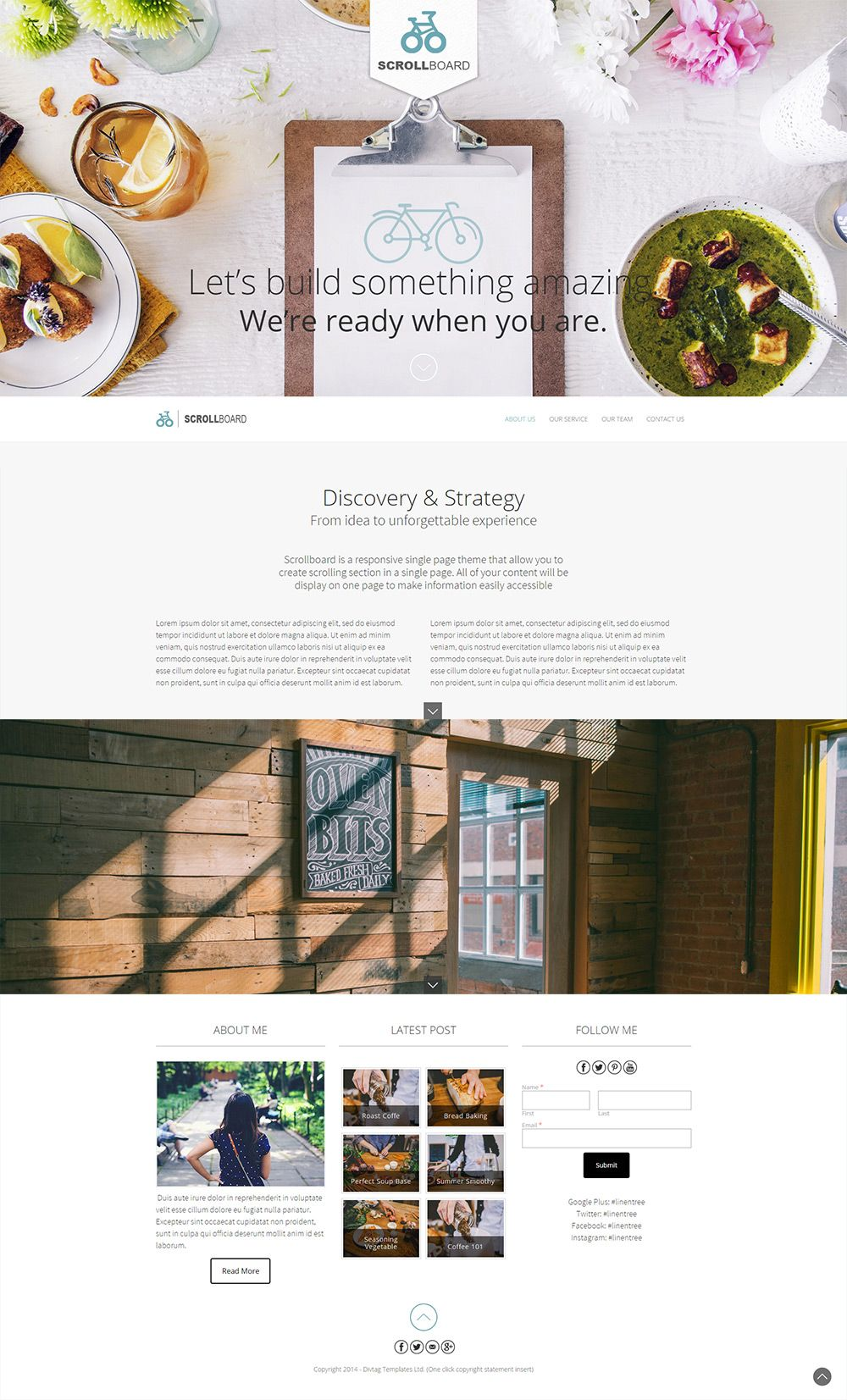 Weebly One Pager Template Theme - ScrollBoard | I ...