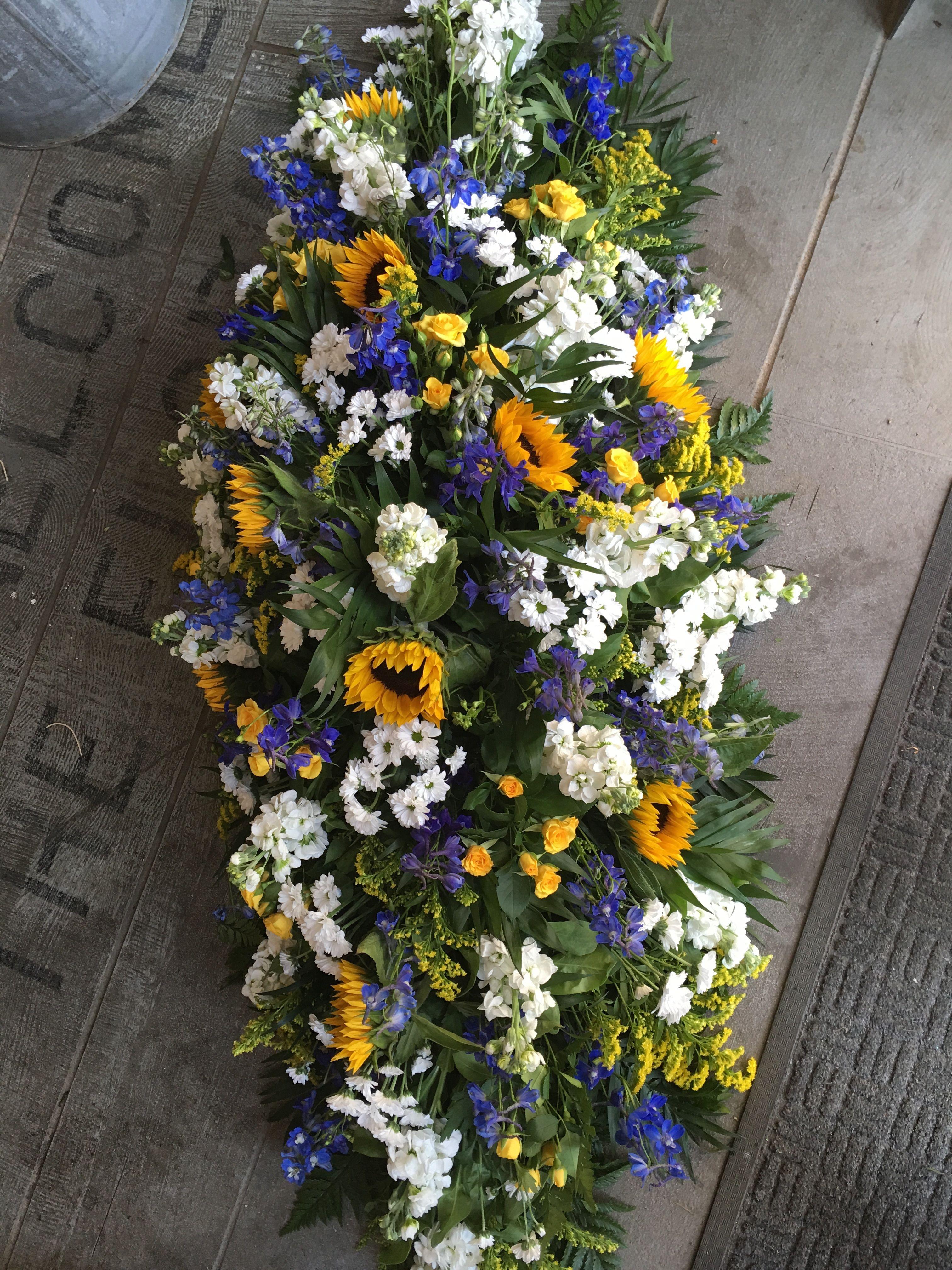 Funeral Flowers Beautiful Large Coffin Spray Sun Flowersyellow