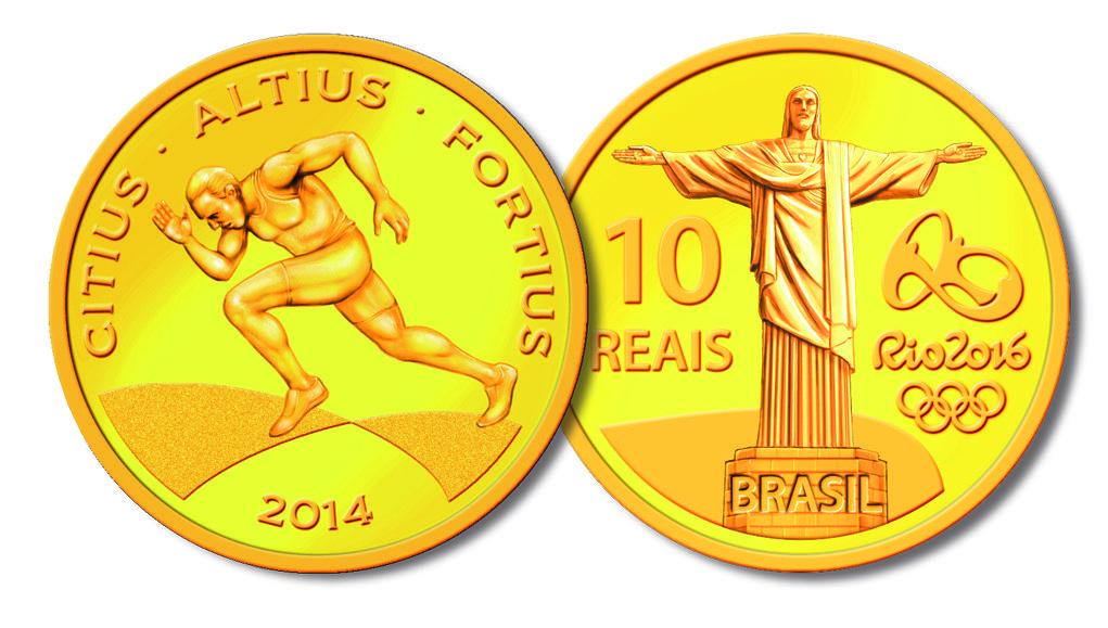 Moeda De Ouro 100m Rasos Moedas Comemorativas Moedas