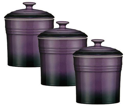 Captivating PURPLE SET OF 3 STORAGE CANISTERS TEA COFFEE SUGAR JARS POTS .