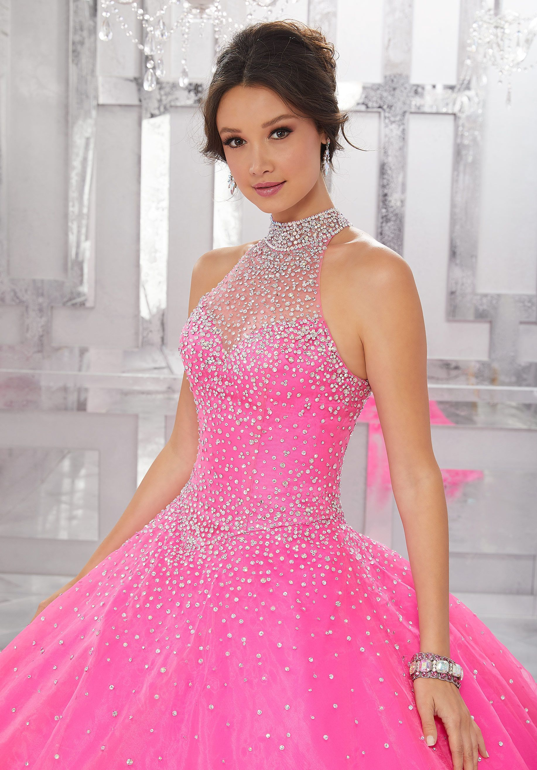 Beaded Halter Quinceanera Dress by Mori Lee Valencia 60021 ...