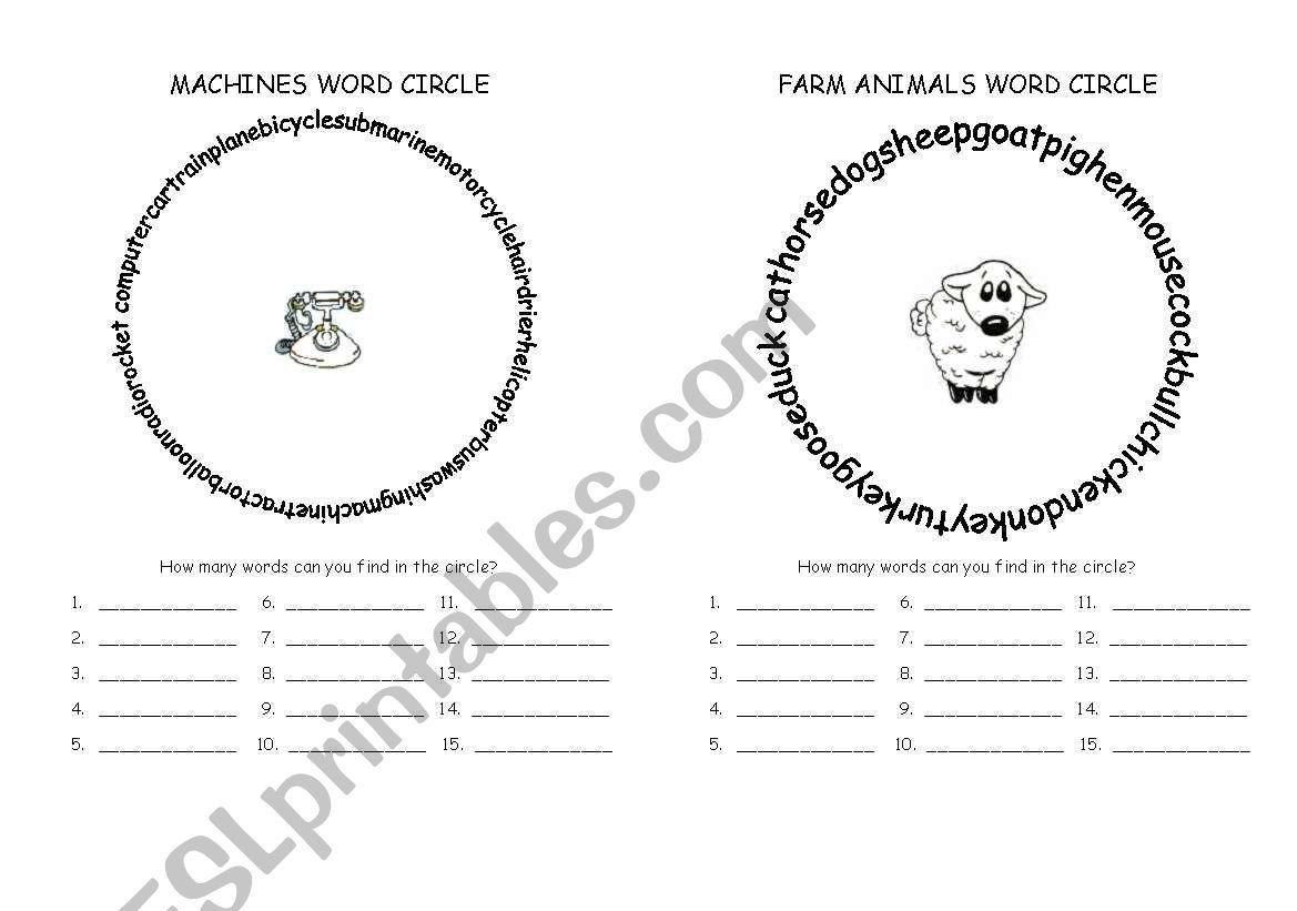 Word Circles 4 Pages Worksheet In