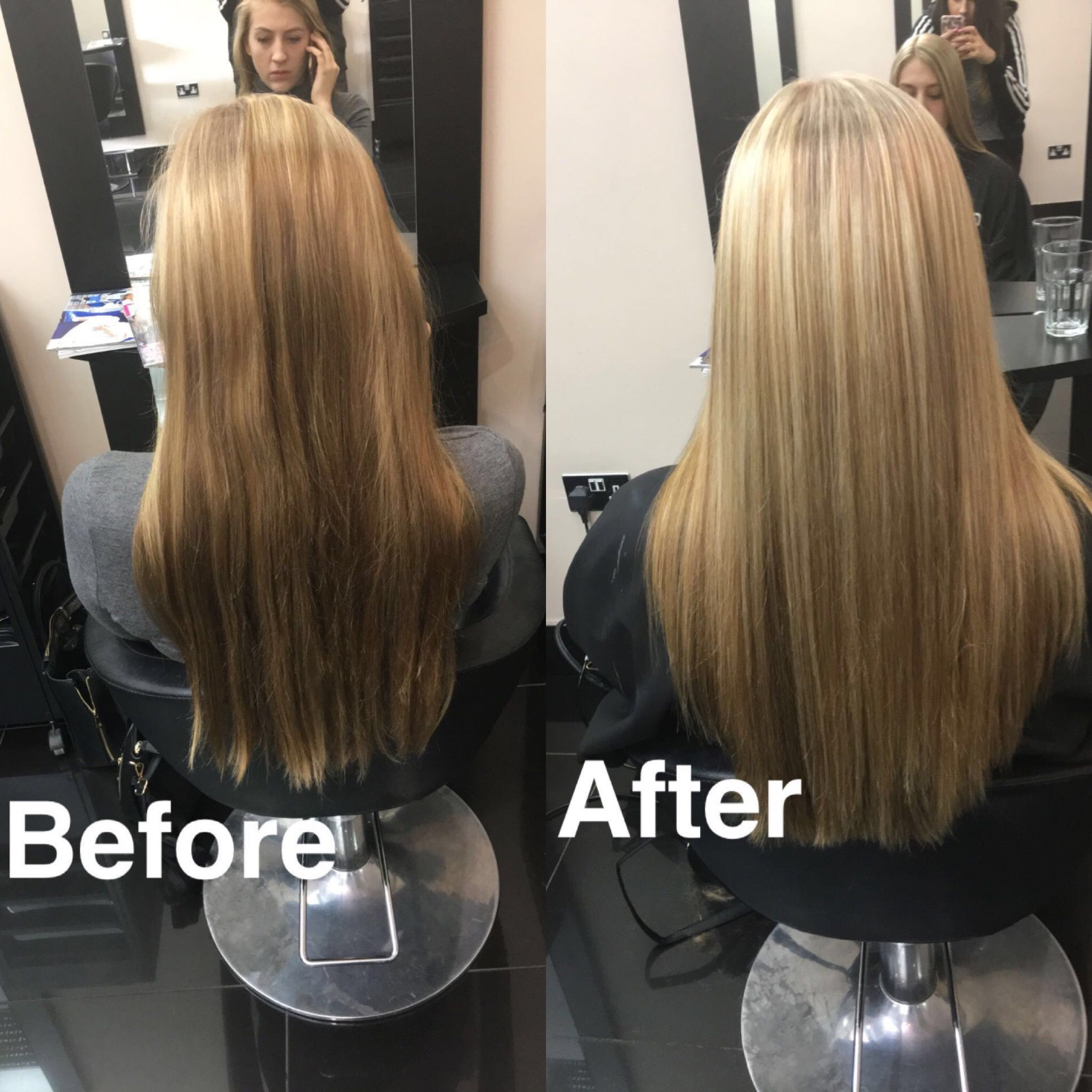 half head of highlights (bleach and 6%) one length with square