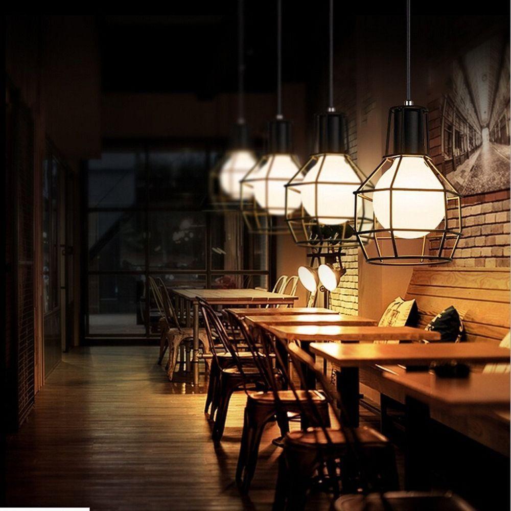 Vintage Industrial Style Droplights Metal Mesh Retro Cafe Bar DIY Pendant Lamps #Fuloon #VintageRetro