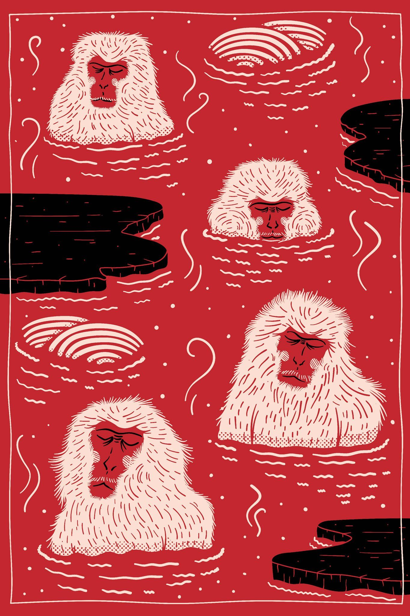 Mooois Playful Indigo Macaque Rug Depicts Monkeys Relaxing in Hot Springs
